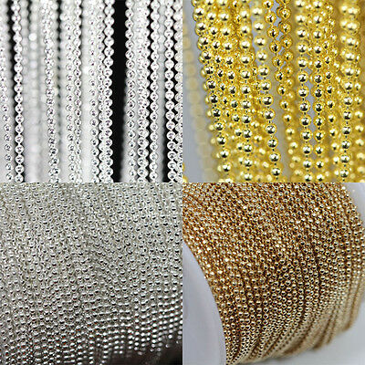 1mm 2/5 Metal Silver/Golden Plated Metal Ball Round Chain DIY Necklace Jewelry