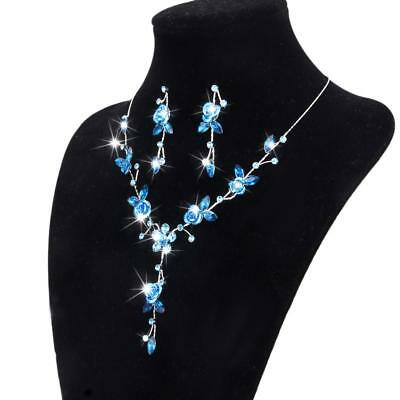 Blue Rose Flower Wedding Bridal Prom Party Jewelry Crystal Necklace Earrings Set