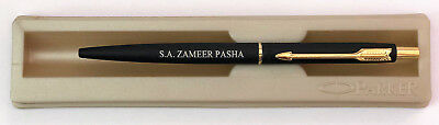 Personalised Engraved Parker Classic Matte Black Gold Trim Ball Pen Gift Box New