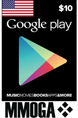 $10 USD Google Play Gift Card 10 US Dollar Gutschein USA Android Store Code Key