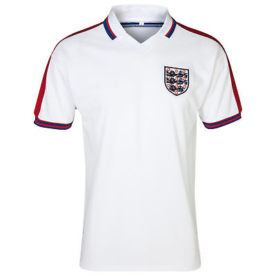 Mens England Football Team 1976 Shirt Jersey Short Sleeve Top Tee T-Shirt White