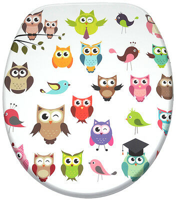 High Quality Printed Wc Toilet Seat | Stable Hinges | Easy To Mount | Owl