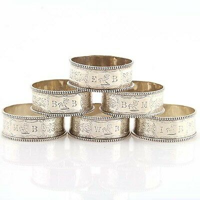 Set of 6 Sterling Silver Napkin Rings by Alfred Taylor Birmingham England 1865