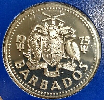 Barbados 1975- Five Dollars Silver Proof Coin. Mint Sealed. Collector Coin 4 Set