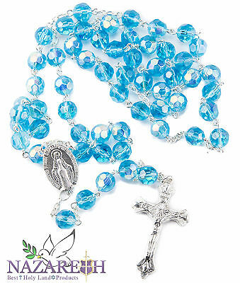 New Catholic Rosary Light Blue Crystal Beads Necklace Miraculous Medal & Cross