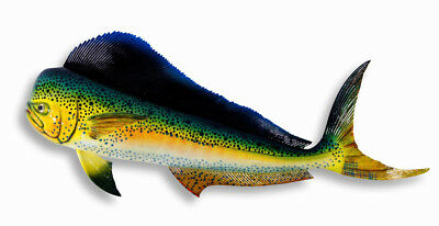 "Hand Painted Jumbo 48"" Mahi Dolphin Game Fish Wall Mount Decor Sculpture D030G"