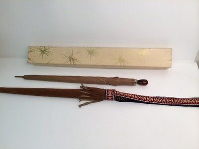VTG 1970'S BROWN UMBRELLA w SUEDE FRINGE CARRYING CASE BULLOCKS