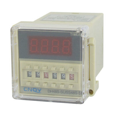 AC/DC12V SPST 8P 0.1S-99H 4-Digit Programmable Timer Delay Relay DH48S-S