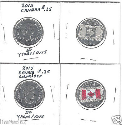 2015 CANADA 25 CENTS (2 Coin Set) - 50th Anniversary of the Canadian Flag FD USA