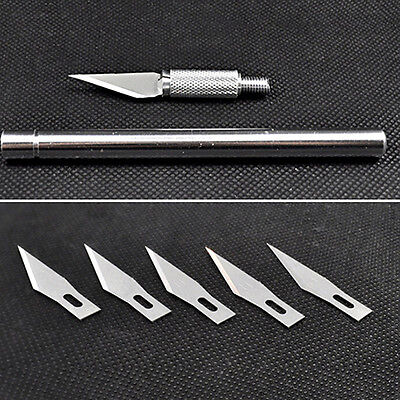 Sassy Wood Carving Pen Paper Cutter Sculpting Cutting Hand Craft Knife+5 Blades
