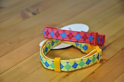 Dog Collar Yellow Diamond Pattern Nylon Small S