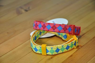 Dog Collar Yellow Diamond Pattern Nylon Small XS