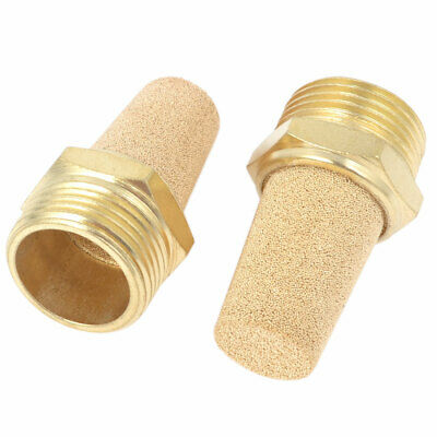 3/4PT Male Thread Brass Pneumatic Air Exhaust Silencer Muffler Gold Tone 2Pcs