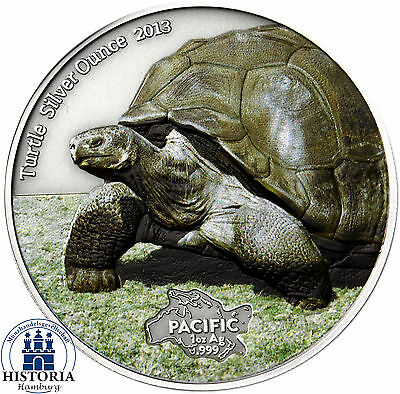 Tokelau 5 Dollars 2013 Turtle Silver Ounce Antique Finish Schildkröte in Farbe