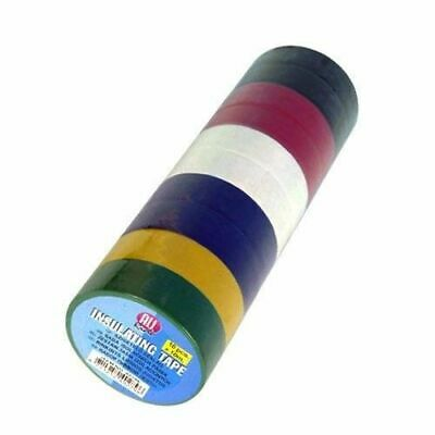 10 Rolls Electricians Electrical Pvc Insulating Insulation Tape Assorted Colours