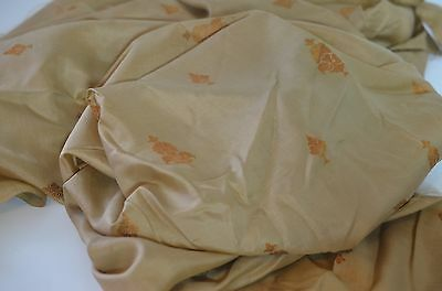 Beautiful Antique Silk Embroidered Fabric In Gold On Cinammon Pp721/w94