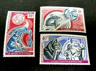 Dahomey 1972 Fabulist Fontaine Issue Complete(3 Values)Very Fine Mint Nh