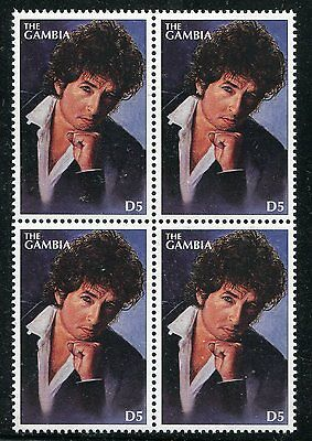 Gambia 1996 Bob Dylan - Rock And Roll Legend Mint Complete Stamp In A Block Of 4