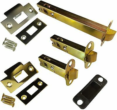 Architectural Double Sprung Tubular Door Latch - Satin Chrome & Polished Brass