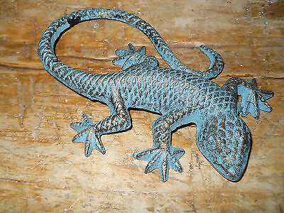 Lot of 2 Cast Iron GREEN LIZARD Garden Statue GECKO Western Ranch Home Decor