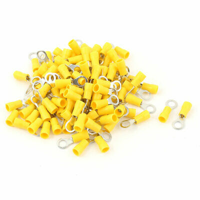 100 Pcs 2-5S Insulated Wire Connector Ring Crimp Terminal Yellow 16-14AWG