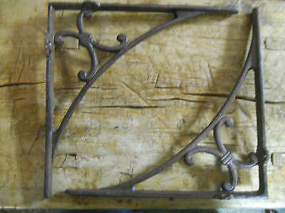 2 Cast Iron Antique Style HUGE Art Deco Brackets, Garden Braces Shelf Bracket