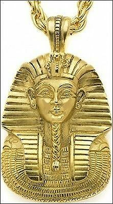 King Tut Mask Pendant with Chain 24 K Gold-plate Egyptian Necklace Made in USA