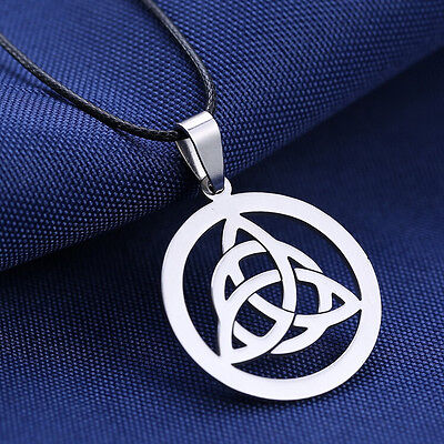 High Quality Celtic Triquetra Stainless Steel Pendant Necklace Leather Chain