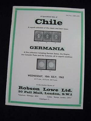 Robson Lowe Auction Catalogue 1963 Chile & Germania
