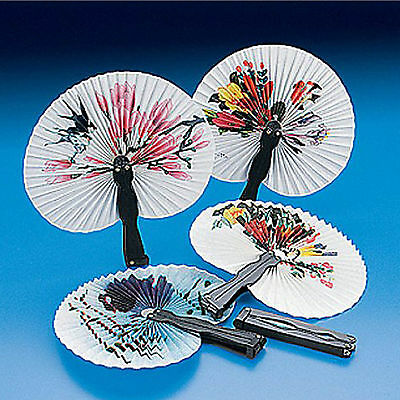 6 x Paper Fans Chinese Style Folding Assorted Print Party Fancy Dress Decor