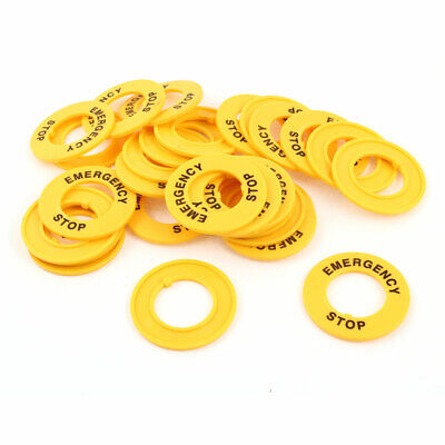 30 Pcs 22mm Cutout Yellow Plastic Round Protective Case for Push Switch Button