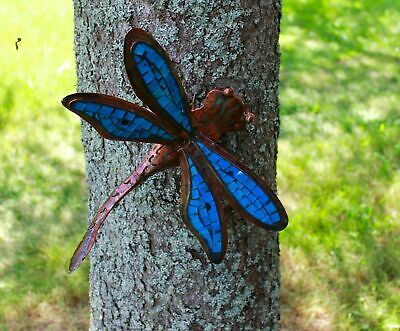 Metal & Glass Mosaic Dragonfly Handmade Garden wall Bali Art Decor blue 13""