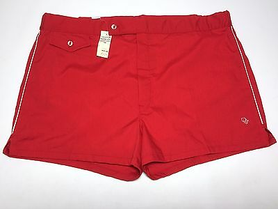 Vtg NWT Christian Dior Monsieur Mens Sailing Beach Swim Trunks Red Sz 40 XL