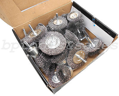 "40pc Wire Wheel Brush Cup Assortment Crimped Steel 1/4"" Shank Drills Rust Scale"