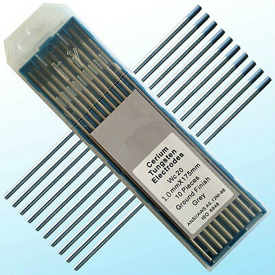 "10 pcs of .040""* 7""(1.0*175mm) Gray WC20,2% Ceriated Tungsten  TIG Electrode"
