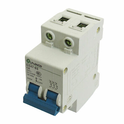 DIN Dail 2P Overload Proetction Circuit Breaker 400VAC 6A 6000A DZ47-63 C6