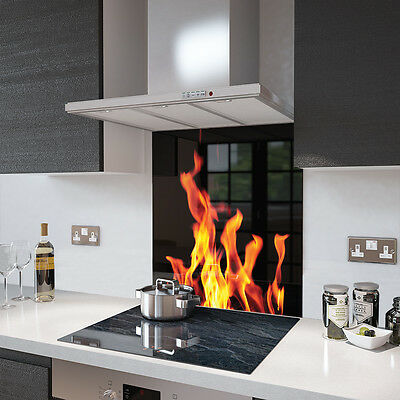 Digital Printed Toughened Glass Picture Splashback - Black with Flames