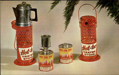 Camping Equipment Hot-Ter heater Stove & Fuel Canisters 1950s-60s Postcard