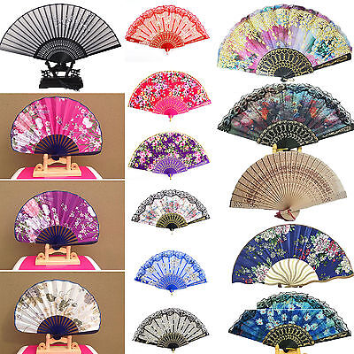 Newly Spanish Lace Silk Folding Hand Held Dance Fan Flower Pattern Party Wedding