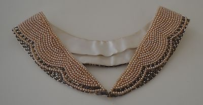 Beautiful Vintage Handmade Removable Pearl And Bead Collar From Japan Pp889