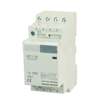 HC1-20 4 Pole DIN Rail Mounting Module AC Contactor 220/240V Coil 20A