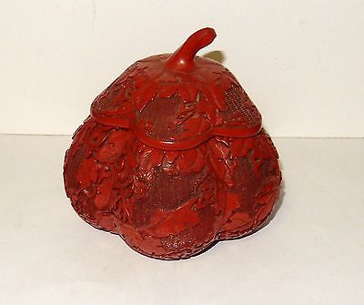 Chinese Gourd Shape Cinnabar Hand Carved Red Lacquer Trinket Jar Box
