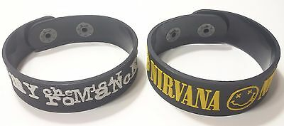 2xNEW MY CHEMICAL ROMANCE NIRVANA RUBBER BRACELET WRIST0BAND MAN WOMAN DAY RS31