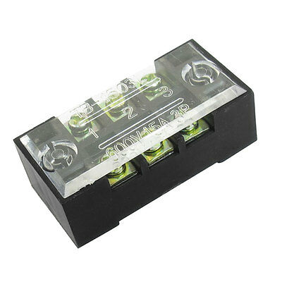 600V 15A 3 Position Double Rows 6 Screw Electric Terminal Barrier Strip Block