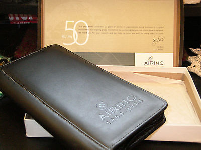 Leed's Passport Millennium Leather Travel Wallet AIRINC  Black with package