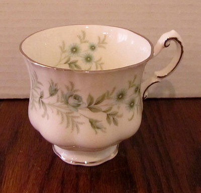 "Paragon bone china teacup in ""Debutante"" pattern -- blue flowers w/ silver"