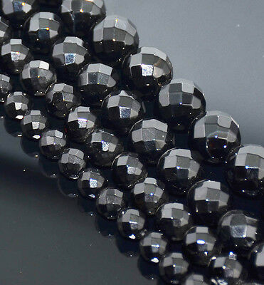 """Faceted Gemstone Round Beads 16"""" Black Onyx 3mm 4mm 6mm 8mm 10mm 12mm 14mm 16mm"""