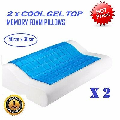 2 X Cool Gel Top Memory Foam Pillow w/ Zip Cover Supreme High Density Contour