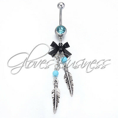 316l Surgical Steel Navel Dangle Button Belly Ring Bar Body Piercing Jewelry