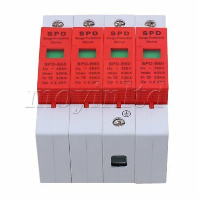 60KA Max Current 4P Surge Protective Device SPD Thunder Lightning Arrester Red